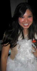 Me, dressed as Bjork in her infamous swan outfit on Halloween.